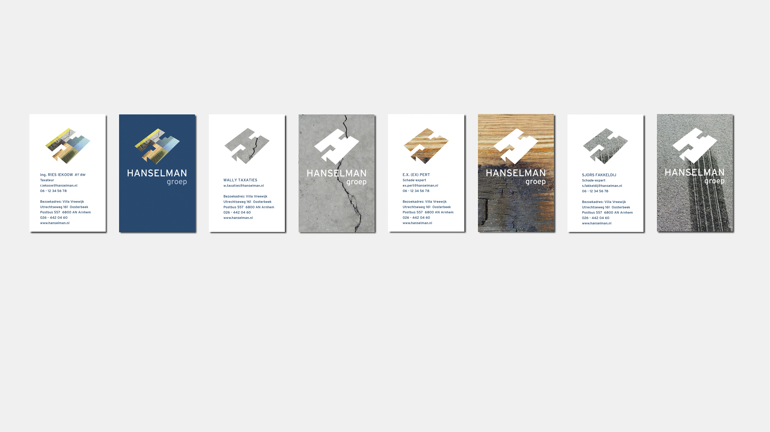 Visitekaartjes Hanselman nieuwe huisstijl. Ontworpen door Neo & Co.