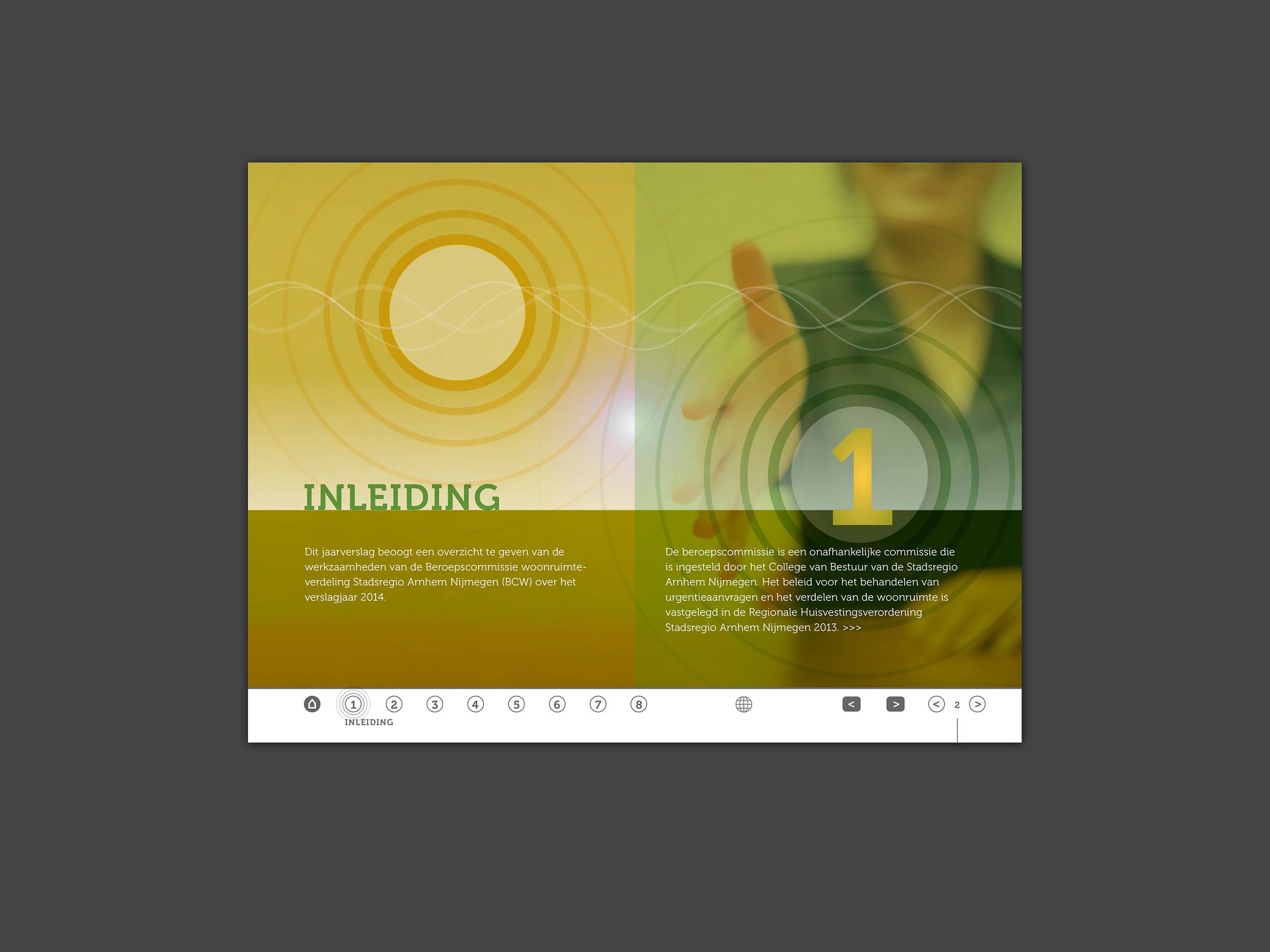 Interactieve pdf, jaarverslag, Beroepscommissie Stadsregio Arnhem Nijmegen, Grafisch ontwerp Neo & Co