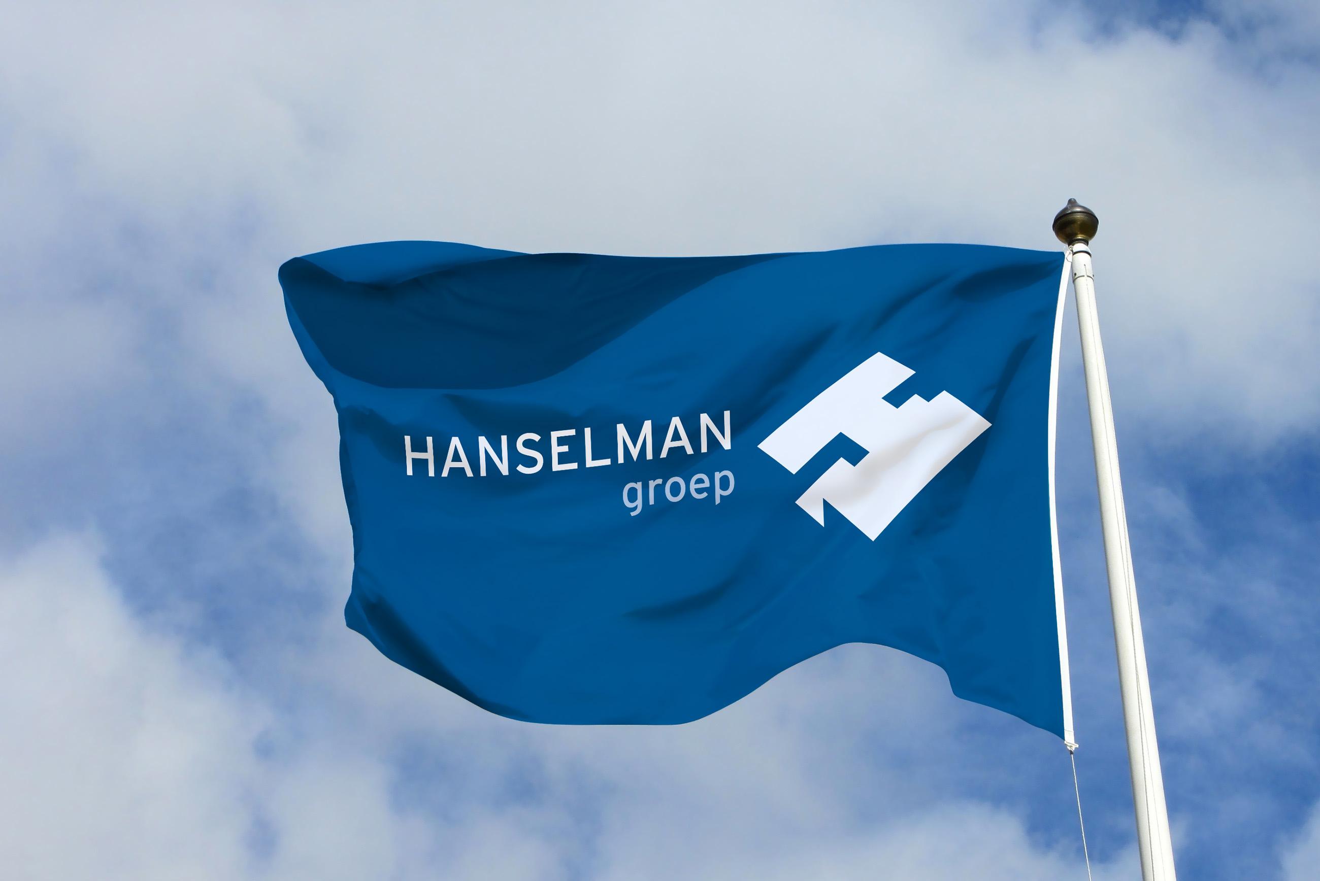 Hanselman vlag, onderdeel van de nieuwe huisstijl, grafisch ontwerp Neo & Co