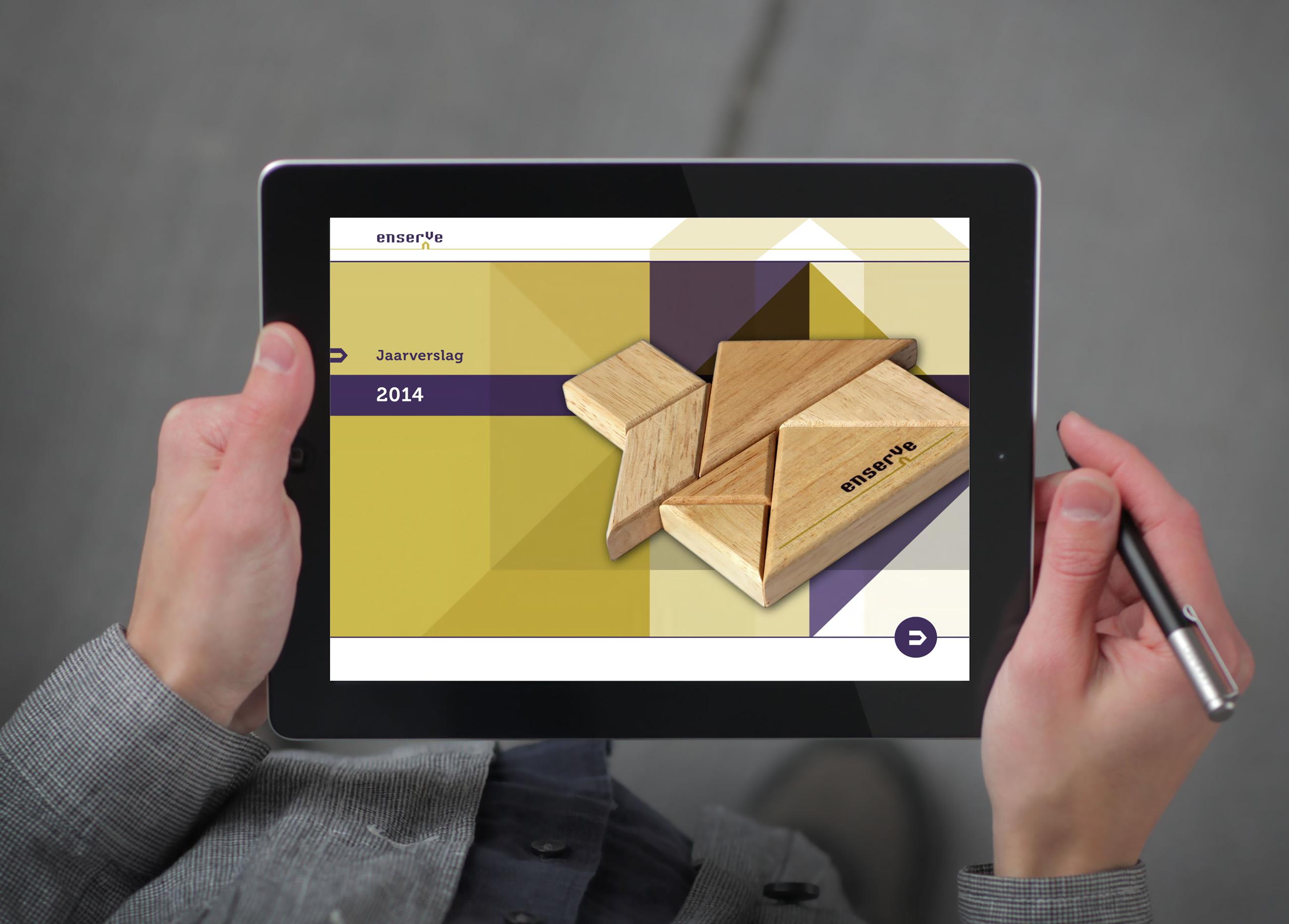 Interactief jaarverslag Enserve op een iPad, grafisch ontwerp Neo & Co